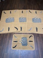 ROMANY GYPSY WASHABLES HAND BAG DESIGNS DARK BEIGE NON SLIP MATS BEST AROUND 4PC